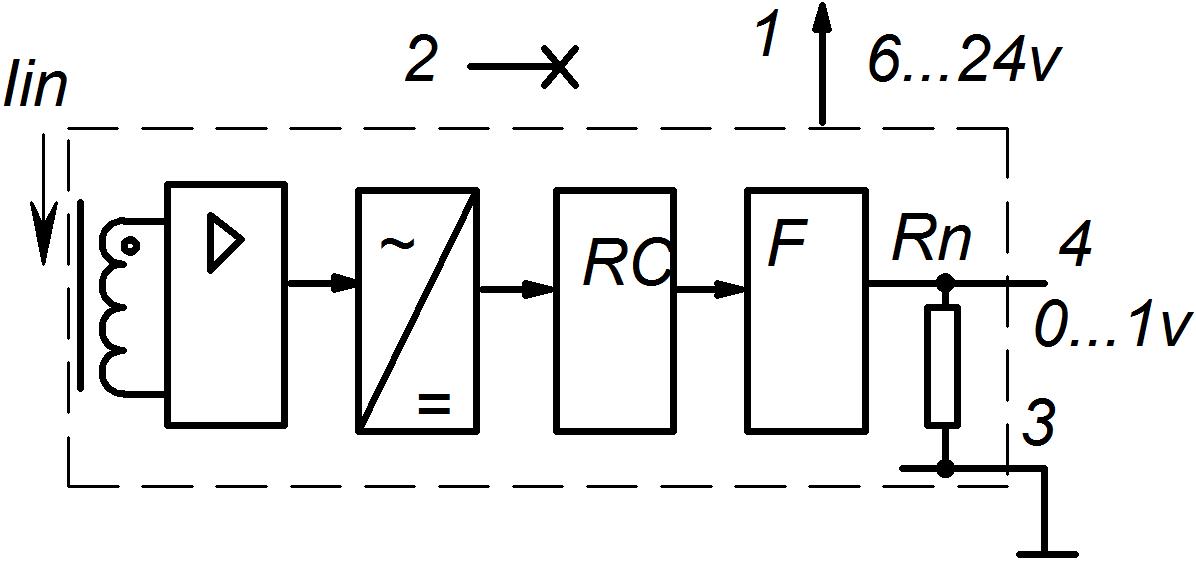 Рис. 1. Функциональная схема датчика с платформой «Айюми» и аналоговым выходом 0-1в